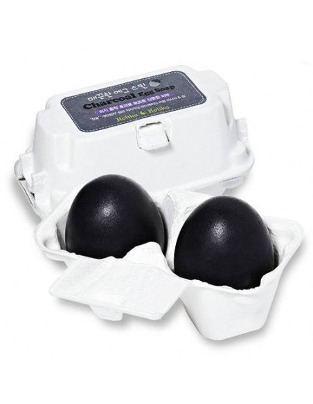 HOLIKA HOLIKA Savon Visage Anti-pores Dilatés au Charbon Smooth Charcoal Egg Soap 100g