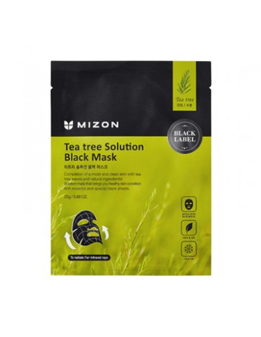 MIZON Masque Cendres Volcaniques Théier Centella Réparateur Anti-imperfections Teatree Solution Black Mask