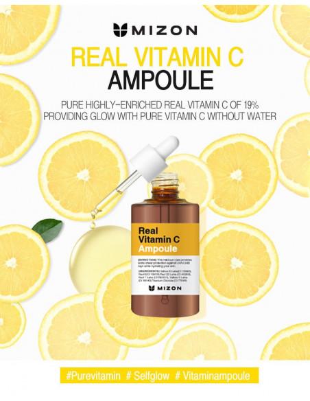 MIZON Sérum Révélateur Eclat Anti-âge Anti tâches Anti imperfections Real Vitamin C19 Ampoule 30ml