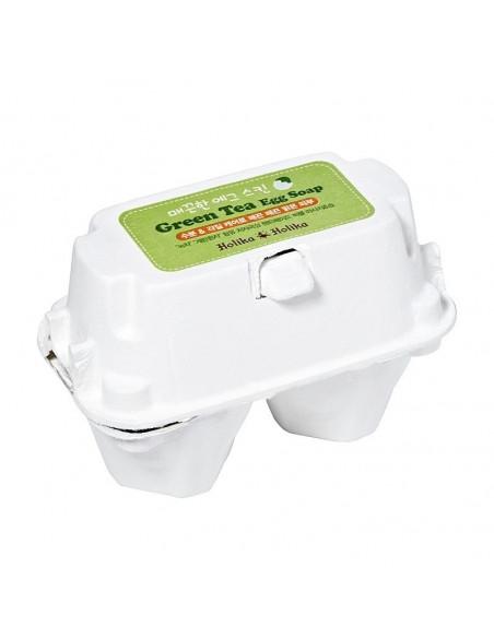 HOLIKA HOLIKA Savon Visage Thé Vert Peaux Sensibles Smooth Green Tea Egg Soap 100g
