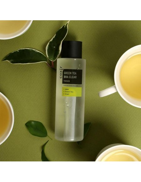 COXIR Tonic Hydratant Purifiant Apaisant Escargot Thé vert Greentea BHA Clear Toner 150ml