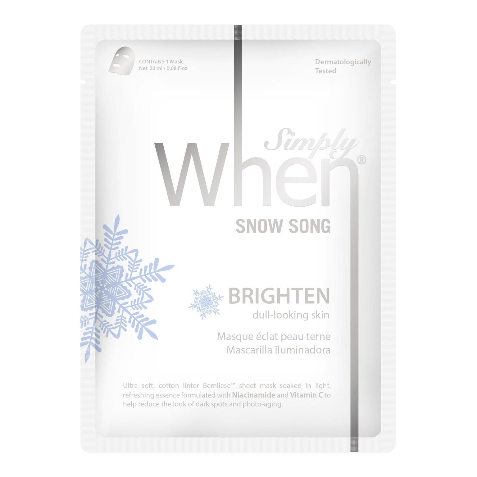 simply when sheet mask snow song whitening