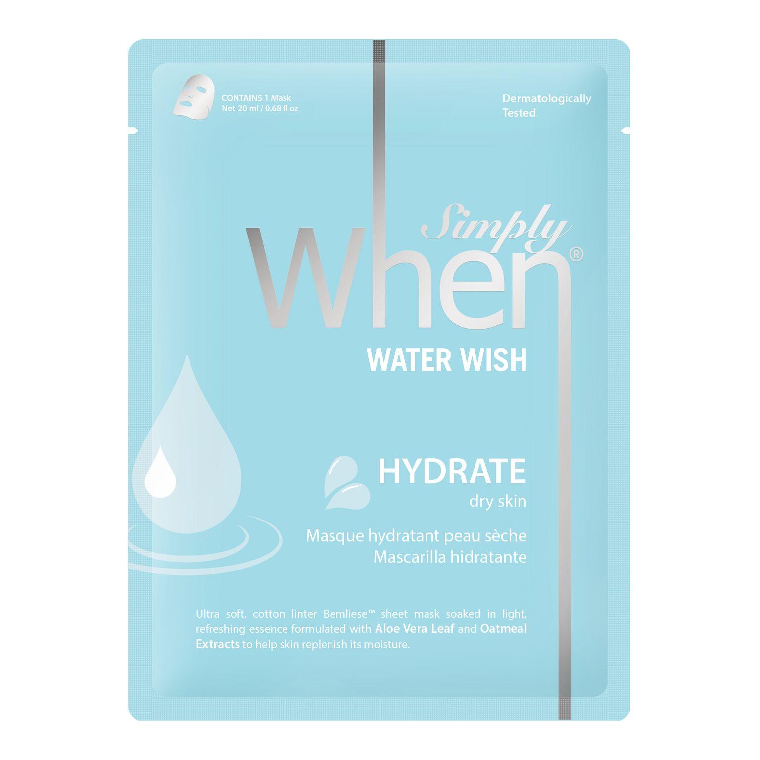 simply when sheet mask water wish